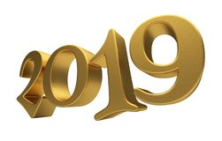 Greeting Card Design Template Gold 2019 Lettering Isolated. Happy New Year 2019, Golden 3D Numbers, New 2019 Year 3d Text on White Background, Greeting Card Royalty Free Stock Photo