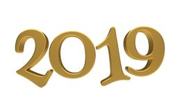 Greeting Card Design Template Gold 2019 Lettering Isolated. Happy New Year 2019, Golden 3D Numbers, New 2019 Year 3d Text on White Background, Greeting Card Stock Photo