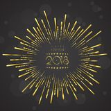 Greeting card design template with Modern Text for 2018 New Year. Of the Dog. Color number 2018 drawn lettering on colorful background. Vector illustration Royalty Free Stock Images