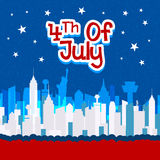 Greeting card design for 4th of July celebration. Elegant greeting card design with view of New York city for 4th of July, American Independence Day celebration Royalty Free Stock Photos