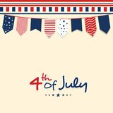 Greeting Card design for 4th of July. Creative colorful buntings decorated greeting card design for 4th of July, American Independence Day Royalty Free Stock Image