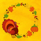 Greeting card design for Thanksgiving Day. Stock Photo