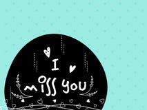 Greeting card design for Valentine's Day celebration. Elegant greeting card with stylish text I Miss You for Happy Valentine's Day celebration royalty free illustration