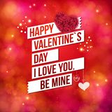 Greeting card design for Valentines Day. Over a sparkling red background with hearts and banners reading - Happy Valentines Day - I Love You - Be Mine Stock Photo