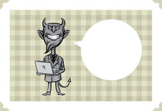 Greeting card with devil with laptop computer Stock Photo