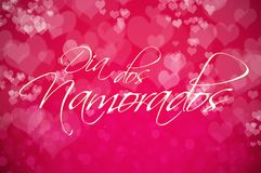 Greeting card for Dia dos Namorados, Brazilian Valentine`s Day. Calligraphy in Portuguese Royalty Free Stock Photos