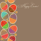 Greeting card with different easter eggs Royalty Free Stock Images