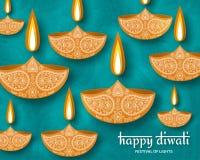 Greeting card for Diwali festival celebration in India. Vector illustration Stock Images