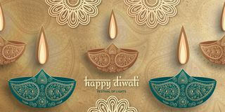 Greeting card for Diwali festival celebration in India royalty free stock photo