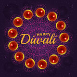 Greeting card for Diwali festival celebration in India. Vector illustration Royalty Free Stock Photography
