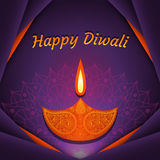 Greeting card for Diwali festival celebration in India. Vector illustration Stock Photo