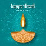 Greeting card for Diwali festival celebration in India. Vector illustration Royalty Free Stock Image