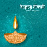 Greeting card for Diwali festival celebration in India. Vector illustration Stock Photos