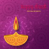 Greeting card for Diwali festival celebration in India. Vector illustration Royalty Free Stock Images