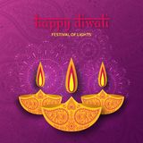 Greeting card for Diwali festival celebration in India. Vector illustration Stock Photography