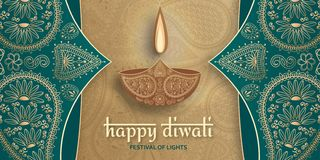 Greeting card for Diwali festival celebration in India royalty free stock image