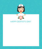 Greeting card for the doctor. International day of the dentist. Vector illustration. Flat design. Royalty Free Stock Images