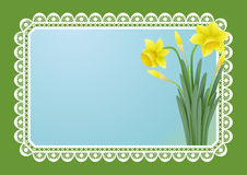 Greeting card with doffodils Royalty Free Stock Photography