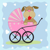 Greeting card it is a dog with  carriage. Stock Photography