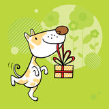 Greeting card with dog character Stock Photography