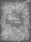 Greeting card doodle flowers Stock Images