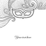 Greeting card with dotted carnival mask and decorative lace in black isolated on white background Royalty Free Stock Image