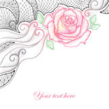 Greeting card with dotted pink rose, leaves, curls and decorative lace in black  on white background. Stock Photo