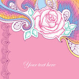 Greeting card with dotted rose flower and decorative violet lace on the pink background. Stock Images