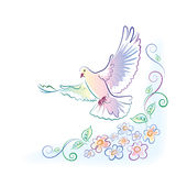 Greeting card with dove and flowers. Greeting card with flying dove and flowers in watercolor style Royalty Free Stock Photography