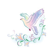 Greeting card with dove in watercolor. Vector greeting card with imitation of watercolours, with a dove and flowers Royalty Free Stock Photo