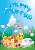 Greeting card with doves, basket and easter eggs Stock Images