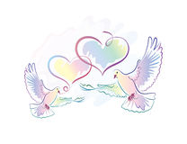 Greeting card with doves and hearts Stock Photography