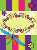 Greeting card with  dragonfly Royalty Free Stock Photo
