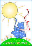 Greeting card. Drawing of cartoon style. Funny little elephant inflates balloon in  form of sun.  Elephant color is blue with white polka dots. He dance on green Royalty Free Stock Photos