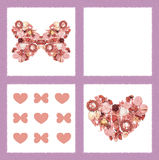 Greeting Card with  Dried flowers in form of butterfly and heart Stock Images