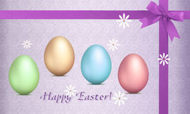 Greeting card for Easter. Easter greeting card with a bow and decorative eggs in bright colors Stock Image