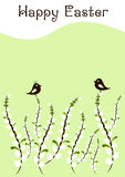 Greeting card for Easter with branches of willow and little birds Stock Photo