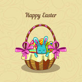 Greeting card with Easter bunny in a basket Stock Image