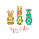 Greeting card with Easter bunny-2 Stock Image