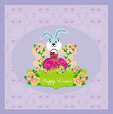 Greeting Card with Easter bunny Stock Image