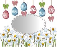 Greeting card for Easter. Daffodils and painted eggs vector illustration