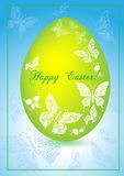 Greeting card with easter egg and butterflies. Stock Photography