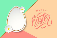 Greeting card with easter egg, flowers and handwritten holiday wishes of a Happy Easter. Royalty Free Stock Photos