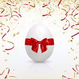 Greeting Card with Easter Egg and Golden Confetti Stock Images