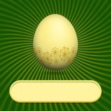 Greeting card with easter egg green Royalty Free Stock Photo