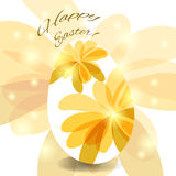 Greeting card for the Easter egg. Painted flowers Royalty Free Stock Photo