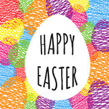 Greeting card with easter eggs. Eggs doodle background. Royalty Free Stock Image