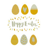 Greeting card Easter eggs and lettering Royalty Free Stock Photos