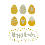 Greeting card Easter eggs and lettering Stock Photos