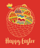 Greeting card with Easter eggs Royalty Free Stock Image